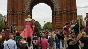 Leistung vor katalanischem Referendum über Unabhängigkeit stock footage