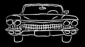 Leistungsfähiges schnelles Retro- Auto der weißen alten Weinleseantikenhippie-Antike malte eigenhändig Farbe auf einer Kontur auf stock abbildung