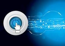 Leistungtaste mit Technologiehintergrund Lizenzfreies Stockfoto
