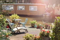 Leisuire pontoon in Amsterdam Stock Images