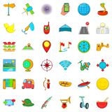 Leisure activites icons set, cartoon style. Leisure activites icons set. Cartoon style of 36 leisure activites vector icons for web isolated on white background Royalty Free Stock Photos