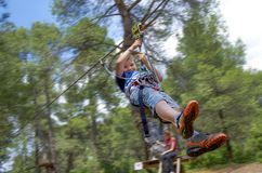 Leisure and activities on nature. Small boy hanging and rolling. From cables between trees royalty free stock photo