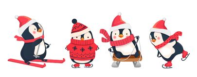 Leisure activities in winter. Winter sports illustration. Penguin vector illustration