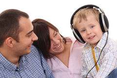 Leisure activity - family. Mother father and son listen to music - leisure activity Stock Photography