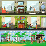 Leisure activity with father vector illustration in flat style. Vector set of posters, banners with fathers playing video and leisure games, walking in park Royalty Free Stock Images