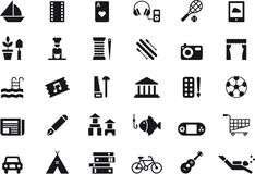 Leisure activity icon set. Set of black and white flat glyph icons relating to leisure fun activities Royalty Free Stock Images