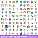 100 leisure activity icons set, cartoon style. 100 leisure activity icons set in cartoon style for any design vector illustration Stock Image