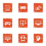 Leisure activity icons set, grunge style. Leisure activity icons set. Grunge set of 9 leisure activity vector icons for web isolated on white background Royalty Free Stock Photo