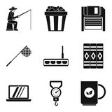 Leisure activity icons set, simple style. Leisure activity icons set. Simple set of 9 leisure activity vector icons for web isolated on white background Royalty Free Stock Photos