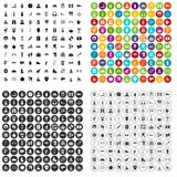 100 leisure activity icons set vector variant. 100 leisure activity icons set vector in 4 variant for any web design isolated on white stock illustration