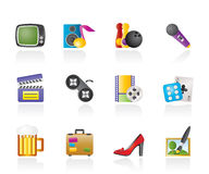 Leisure activity and objects icons Stock Image