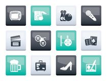 Leisure activity and objects icons over color background. Vector icon set vector illustration