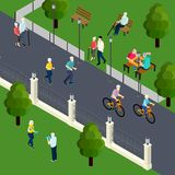 Pensioners Leisure Activity Isometric Illustration. Leisure activity of pensioners at outdoor sport board game with friends walking in park isometric vector vector illustration