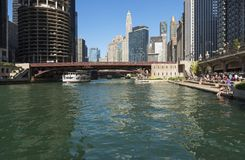 Leisure time in Chicago downtown royalty free stock photography