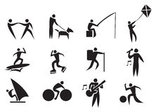 Leisure Activity Vector Icon Set Stock Photography