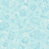 Leisure background. Handmade items background. Craft tools seamless pattern Royalty Free Stock Photo