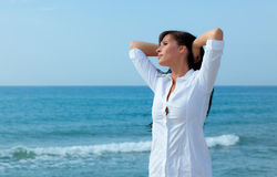 Leisure beach. Leisure beauty beach woman relaxing Royalty Free Stock Image