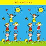 Leisure board board game, find six differences, vector. Icon. Group of children on meadow. At backgroun are butterfly and sun Stock Photography