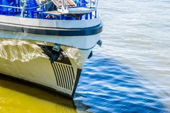 Leisure boat on the berth stock photo
