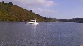Leisure boat on the lake stock video footage