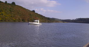 Leisure boat on the lake stock video