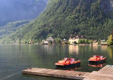 Leisure boat pier at Hallstatt lake Stock Photography