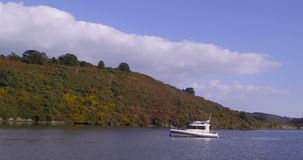 Leisure boat on the water stock video