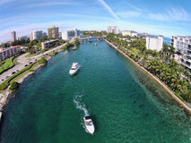 Leisure boating in Boca Raton Florida. Aerial view of boating inlet in Boca Raton, Florida Stock Photos