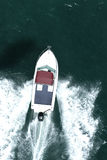 Leisure boating MR 01. A speed boat runs through the ocean Stock Image