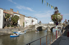 Leisure boats on a French canal-Europe Royalty Free Stock Image