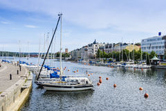 Leisure boats moored Harnosand Royalty Free Stock Photography