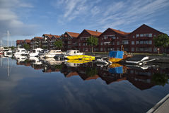 Leisure boats on the quay. On the quay at Halden's inner harbor are a number of leisure boats moored Royalty Free Stock Photography