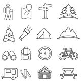 Leisure, camping, recreation and outdoor activities line icon set stock illustration