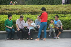 Leisure Chinese family In the Shenzhen Grand Theater Plaza Royalty Free Stock Photo