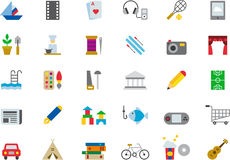 LEISURE colored flat icons Stock Image