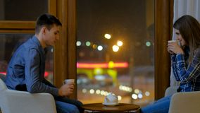 Leisure communication couple conversation tea. Family home leisure. communication conversation. couple talking. man and woman drinking tea stock video