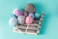 Leisure  concept. Colored clew of yarn for knitting Stock Photography