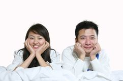 Leisure couple. Asian young couple's leisure life at home Royalty Free Stock Photo