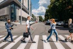 Crosswalk urban fashion youth lifestyle. Leisure crosswalk urban fashion youth lifestyle concept royalty free stock photos