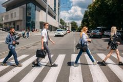 Crosswalk urban fashion youth lifestyle. Leisure crosswalk urban fashion youth lifestyle concept Royalty Free Stock Images
