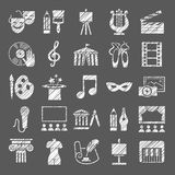 Culture and art, icons, shading pencil, white, vector. royalty free illustration