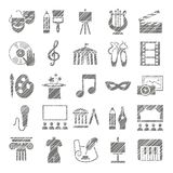 Culture and art, icons, shading pencil, gray, vector. royalty free illustration