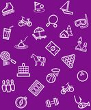 Leisure and entertainment, background, seamless, purple. Stock Image