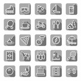 Leisure and entertainment icons, flat, vector. The white contour drawings on gray background with shadow. Vector clip art Royalty Free Stock Photo