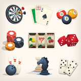 Leisure games icons. Games equipment icons for leasure games, casino and bar sports Stock Photos