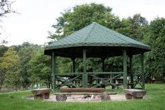 Leisure gazebo in the forest and garden. Season of autumn. September Month Stock Image
