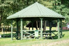 Leisure gazebo in the forest and garden. Season of autumn. September Month Stock Photo