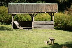 Leisure gazebo in the forest and garden. Season of autumn. September Month Stock Images