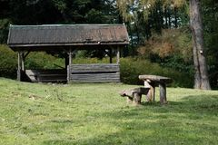 Leisure gazebo in the forest and garden. Season of autumn. September Month Royalty Free Stock Photography