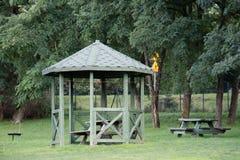 Leisure gazebo in the forest and garden. Season of autumn. September Month Stock Photos